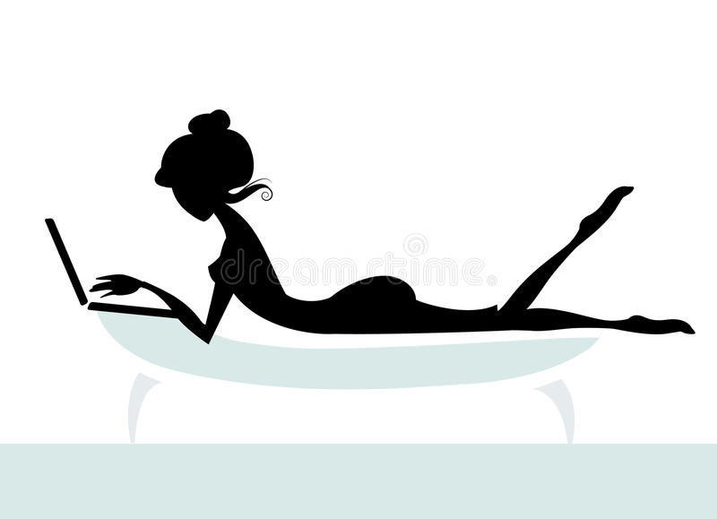 dziewczyna laptop royalty ilustracja