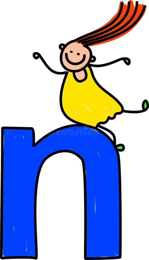dziewczyna literę n royalty ilustracja