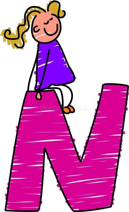 dziewczyna literę n ilustracji