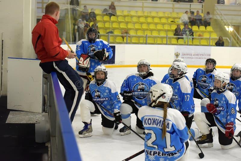 Dziewczyna lodowego hokeja dopasowanie zdjęcie royalty free
