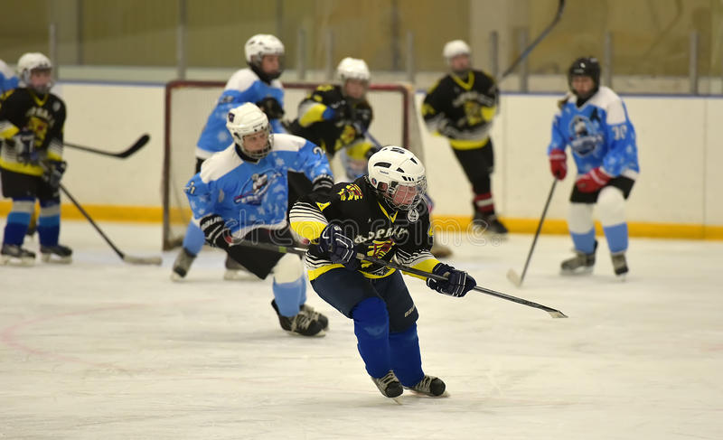 Dziewczyna lodowego hokeja dopasowanie zdjęcia royalty free