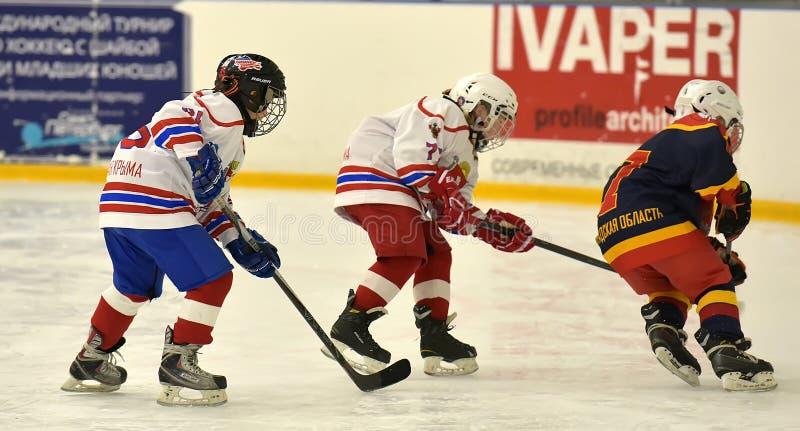 Dziewczyna lodowego hokeja dopasowanie zdjęcie stock