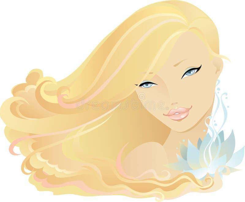 dziewczyna lotos ilustracja wektor