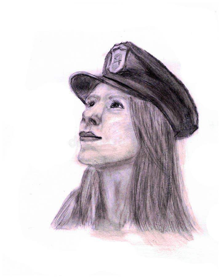 Dziewczyna lub kobieta w nakrętce z cockade ilustracji
