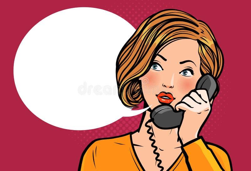 Dziewczyna lub młoda kobieta opowiada na telefonie rozmowa jest dialog telefonu kobiety również zwrócić corel ilustracji wektora royalty ilustracja