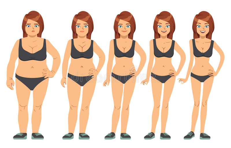 Dziewczyna, młoda kobieta przed i po dietą i sprawność fizyczna, ciężar strata kroczy wektorową ilustrację ilustracja wektor