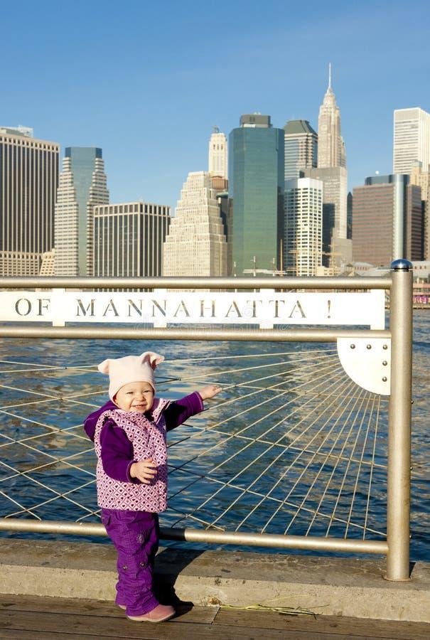 dziewczyna mały Manhattan obrazy royalty free
