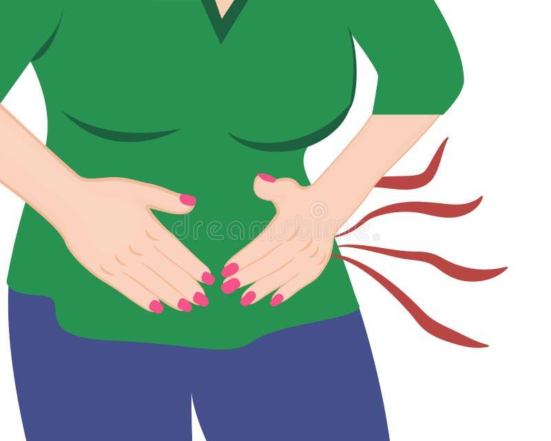 Dziewczyna ma abdoman bólowego wektor ilustracji