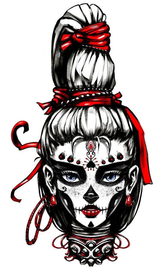 Dziewczyna malujący dzień nieboszczyk royalty ilustracja