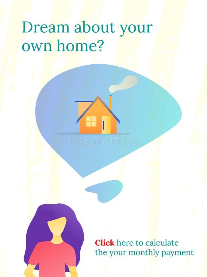 Dziewczyna marzy o swój domu Sztandar dla reklam Nieruchomo?? biznes Gospodarka czynsz ilustracja wektor