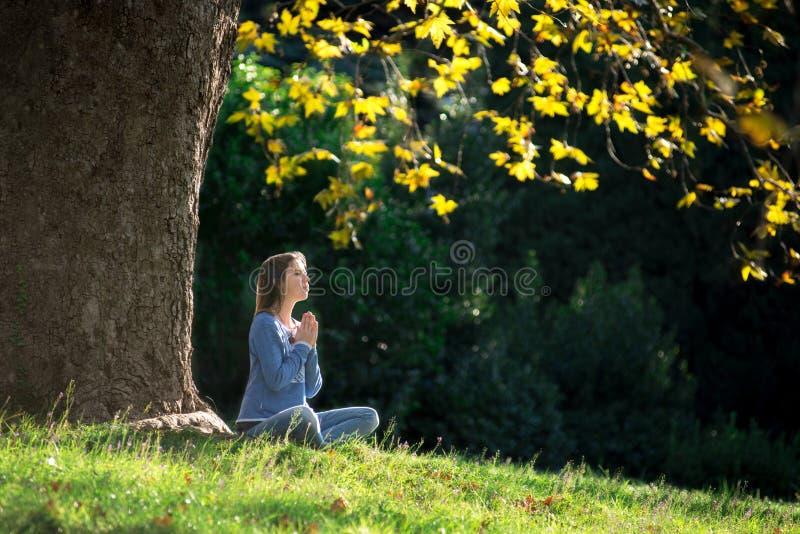 Dziewczyna medytuje obsiadanie na trawie pod klonowym drzewem w jesieni fotografia stock