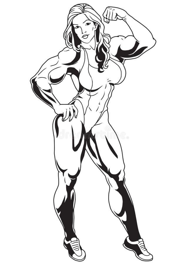 dziewczyna mięśni ilustracji