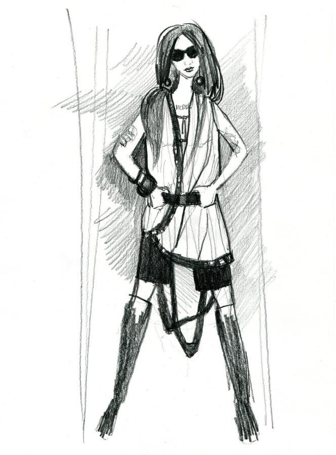 Dziewczyna model, demonstruje płótno royalty ilustracja