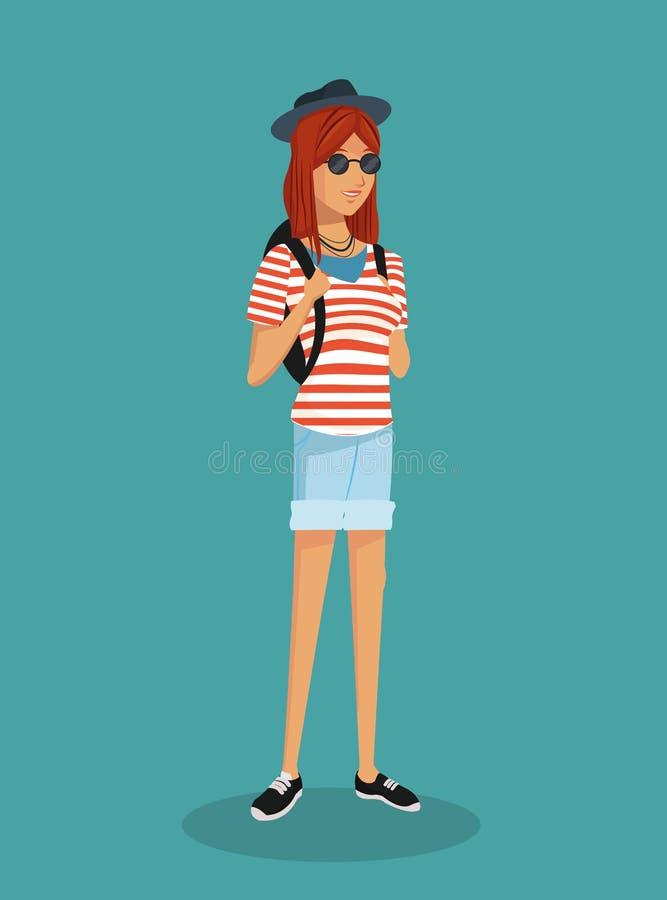 Dziewczyna modnisia lampasów tshirt nastoletni okulary przeciwsłoneczni ilustracja wektor