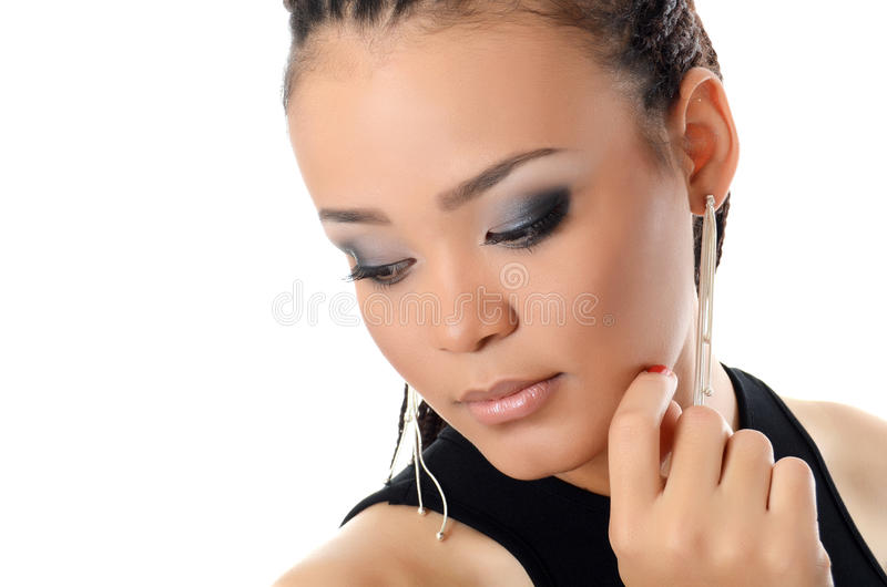 Dziewczyna mulat z pięknym makijażem obrazy stock