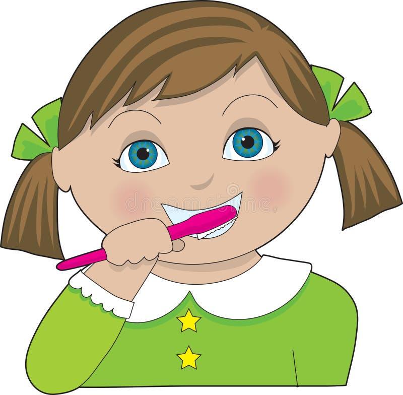dziewczyna myć zęby royalty ilustracja