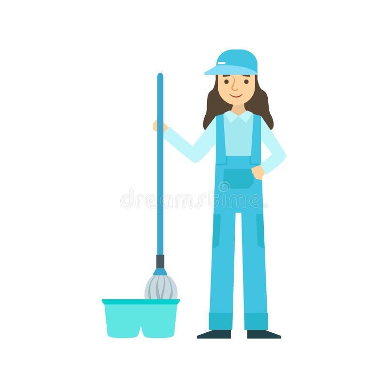 Dziewczyna Myje podłoga Z kwaczem, Czyści Usługowy Fachowy Cleaner W Jednolitym Cleaning W gospodarstwie domowym ilustracja wektor