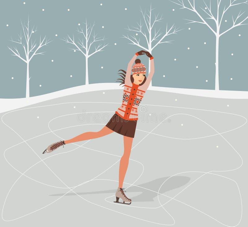 Dziewczyna na łyżwach. ilustracja wektor