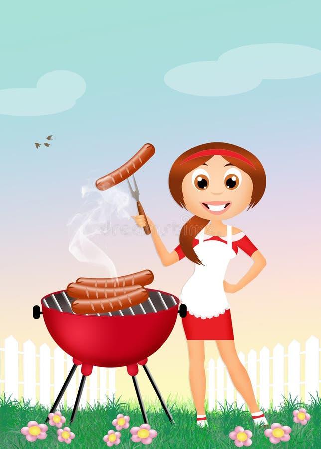 Dziewczyna na grillu royalty ilustracja
