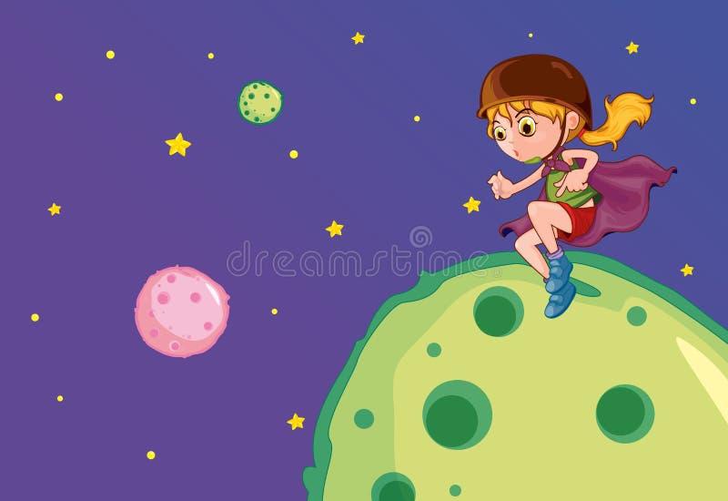 Dziewczyna na księżyc ilustracja wektor