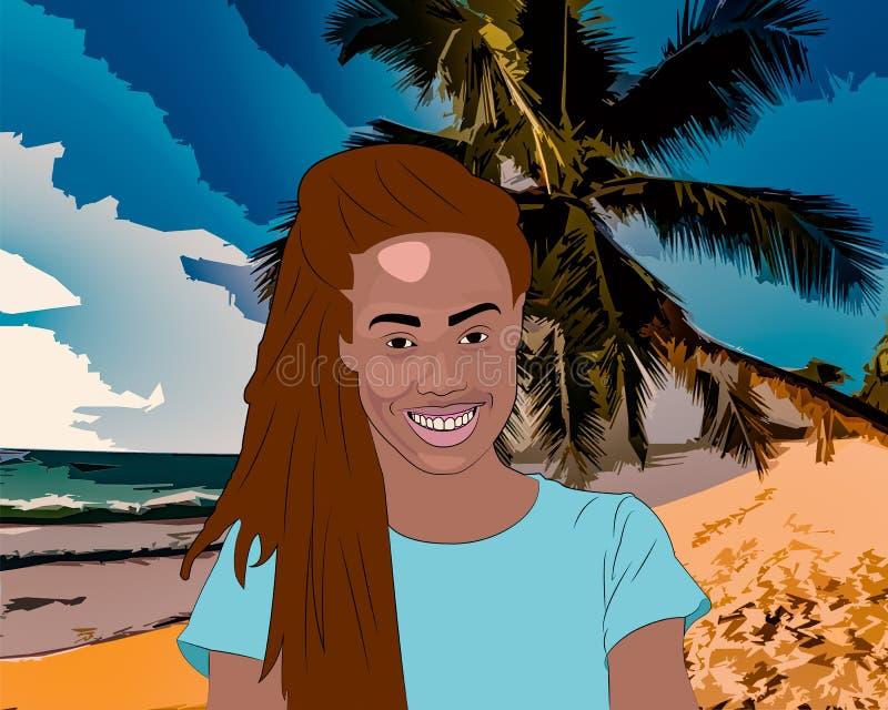 Dziewczyna na plaży royalty ilustracja