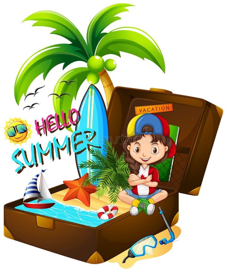 Dziewczyna na walizce i plaży ilustracji