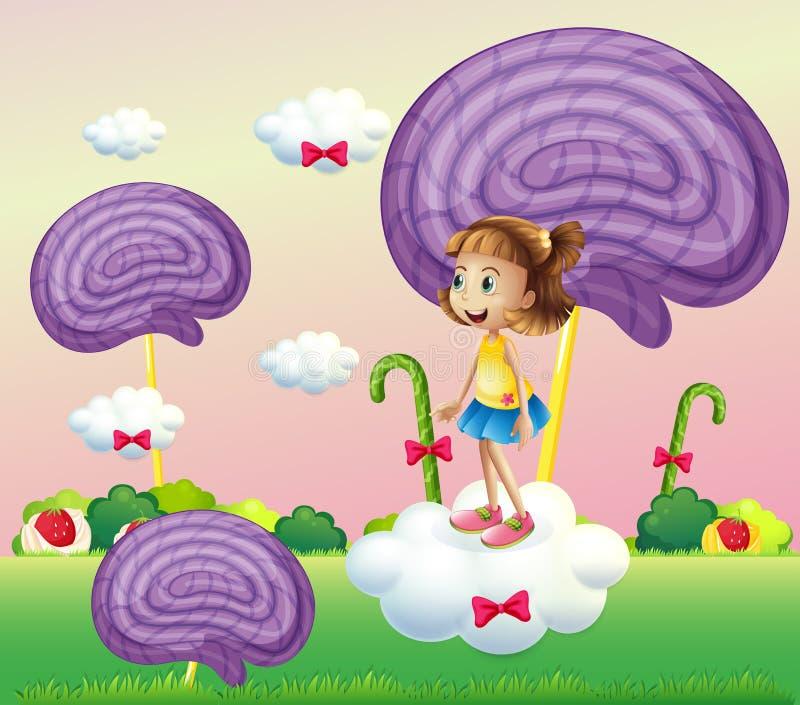 Dziewczyna nad chmura otaczająca z ślimakowatymi cukierkami ilustracja wektor
