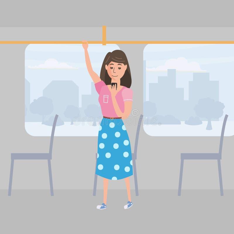 Dziewczyna nastolatka spojrzenia w smartphone transporcie publicznie, tła miasto, wektor, ilustracja, kreskówka styl, odizolowywa ilustracji