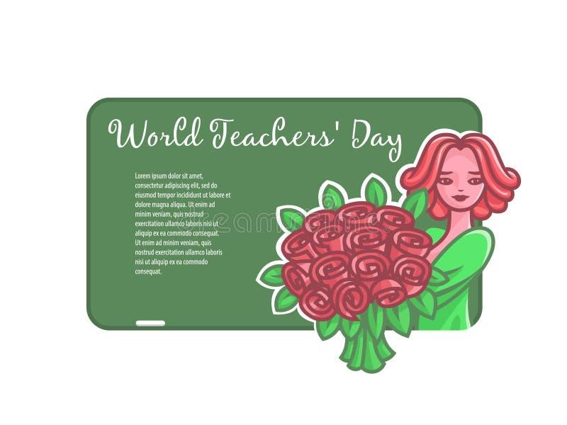 Dziewczyna nauczyciel z kwiatami przy deską dla kredy ilustracji
