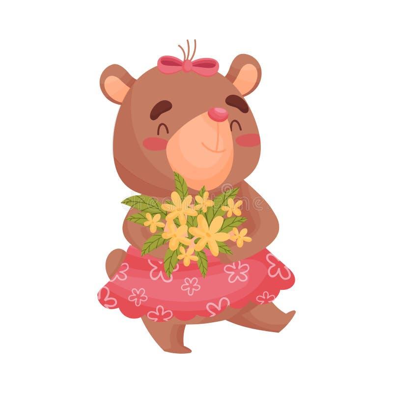Dziewczyna niedźwiedź niesie bukiet kwiaty t?a ilustracyjny rekinu wektoru biel royalty ilustracja