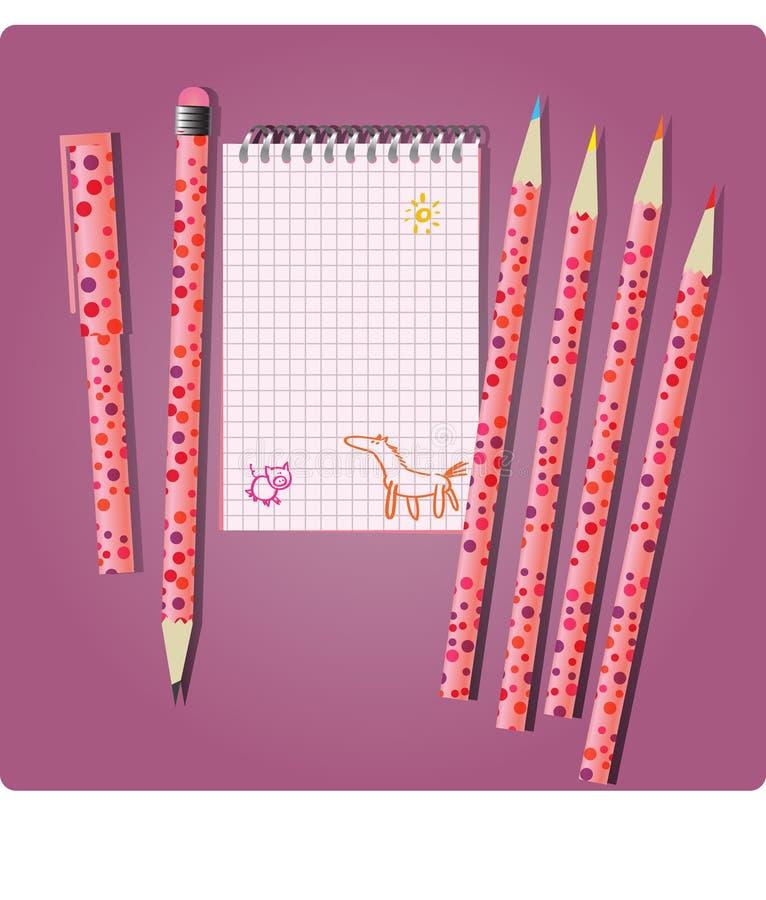 dziewczyna notatnik royalty ilustracja