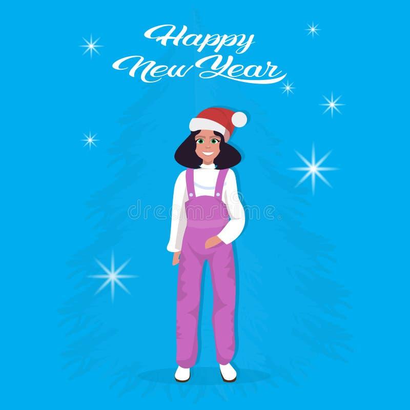 Dziewczyna nowego roku wesoło bożych narodzeń pojęcia żeńskich dzieci czerwonej kapeluszowej szczęśliwej płaskiej postaci z kresk ilustracja wektor