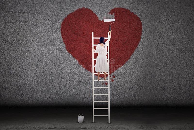 Dziewczyna obrazu miłość na ścianie ilustracja wektor