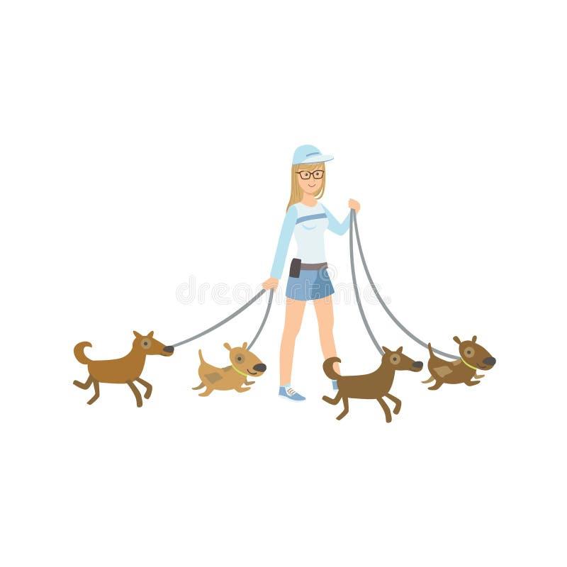 Dziewczyna Ochotniczy odprowadzenie Ratujący psy ilustracji