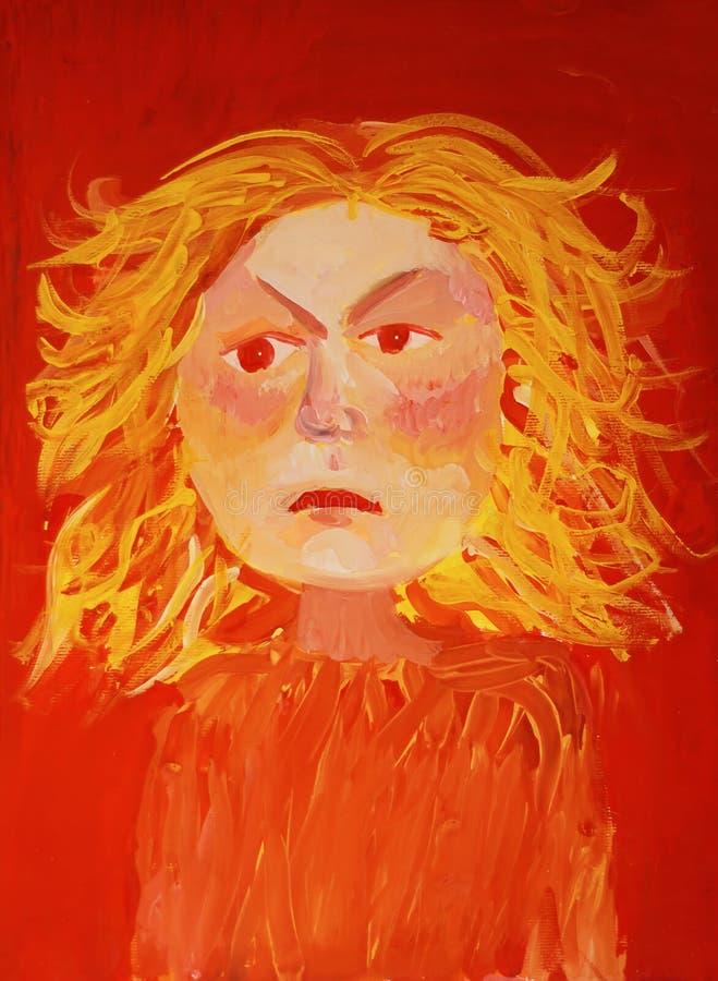 Dziewczyna ogień Akwareli dziewczyna z akwarelą royalty ilustracja
