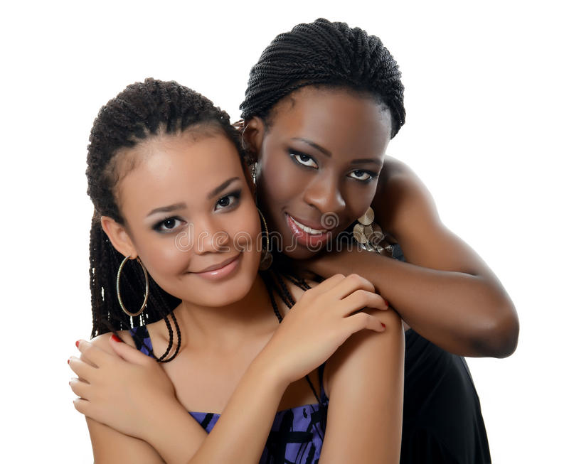 Dziewczyna oliwkowa i czarny dziewczyna obrazy stock