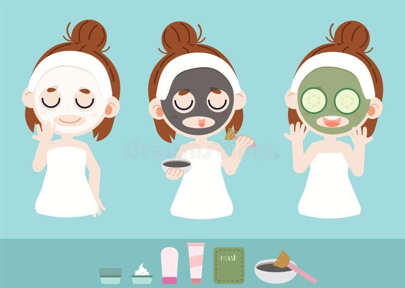 Dziewczyna opiekuje się maską twarzy używa białej maski i czarnej maski Czarny kolor tworzy węgiel Do royalty ilustracja