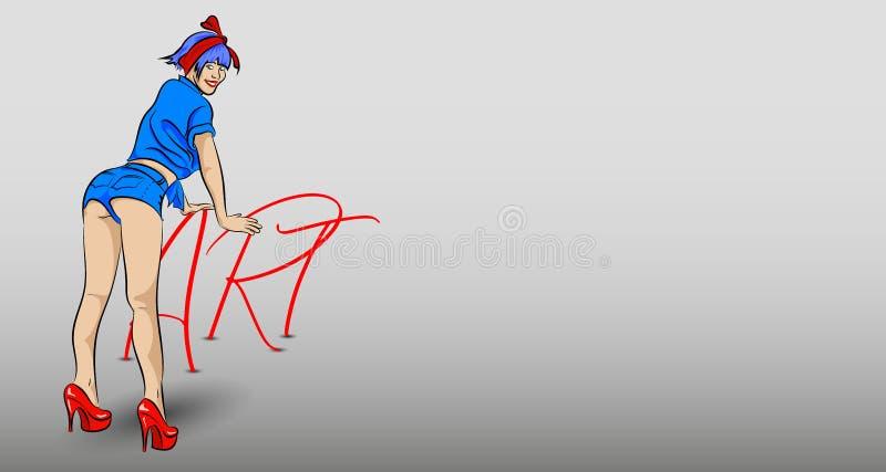 Dziewczyna opierająca na słowie sztuka royalty ilustracja