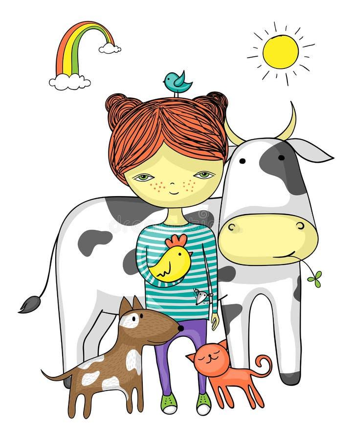 Dziewczyna otaczająca jej zwierzęcymi przyjaciółmi royalty ilustracja