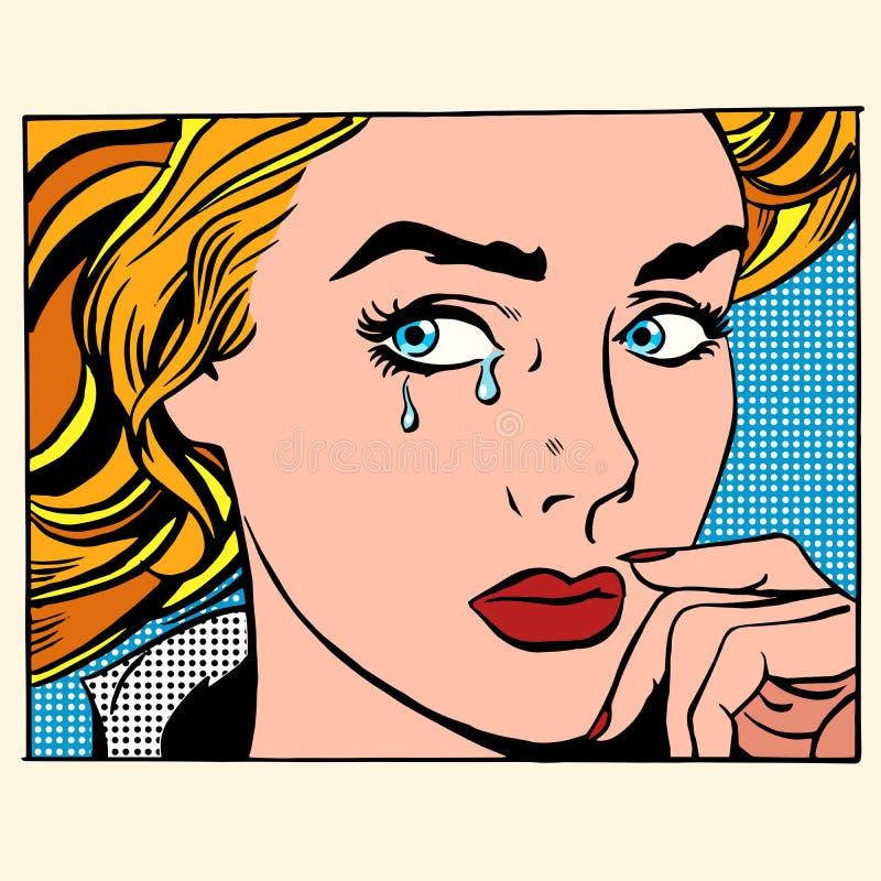 Dziewczyna płaczu kobiety twarz ilustracja wektor