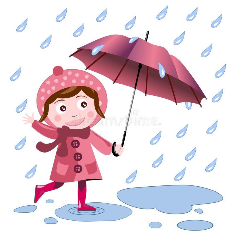 dziewczyna parasol ilustracja wektor