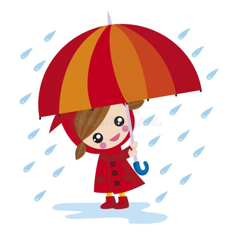 dziewczyna parasolkę ilustracji
