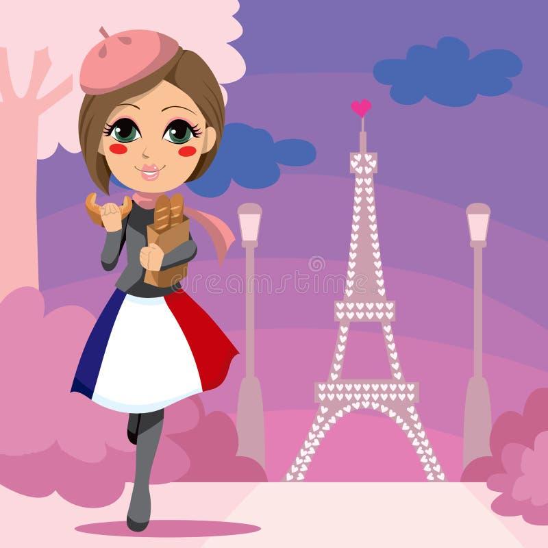 dziewczyna parisien ilustracja wektor