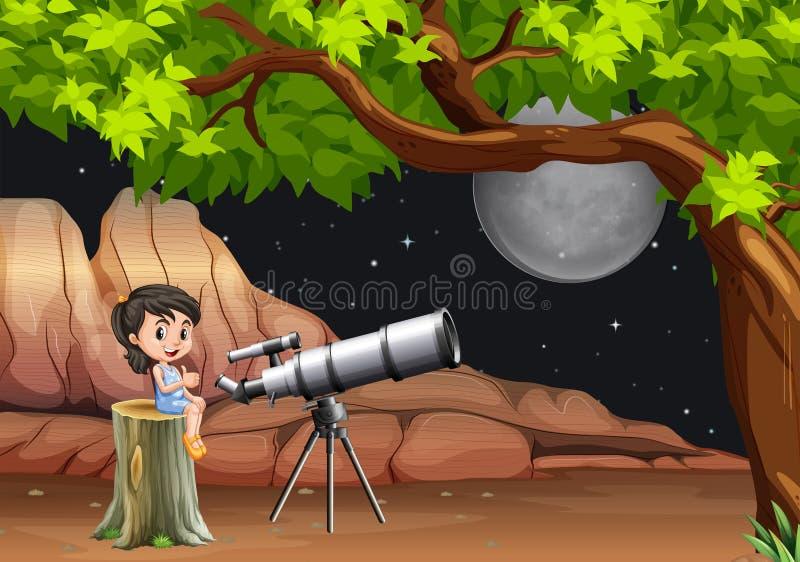 Dziewczyna patrzeje gwiazdy i księżyc przez teleskopu ilustracji
