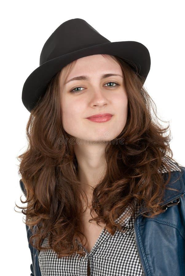 dziewczyna piękny czarny kapelusz fotografia stock