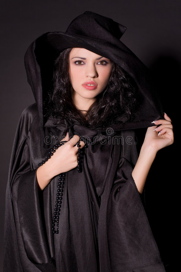 dziewczyna piękny czarny kapelusz obraz royalty free