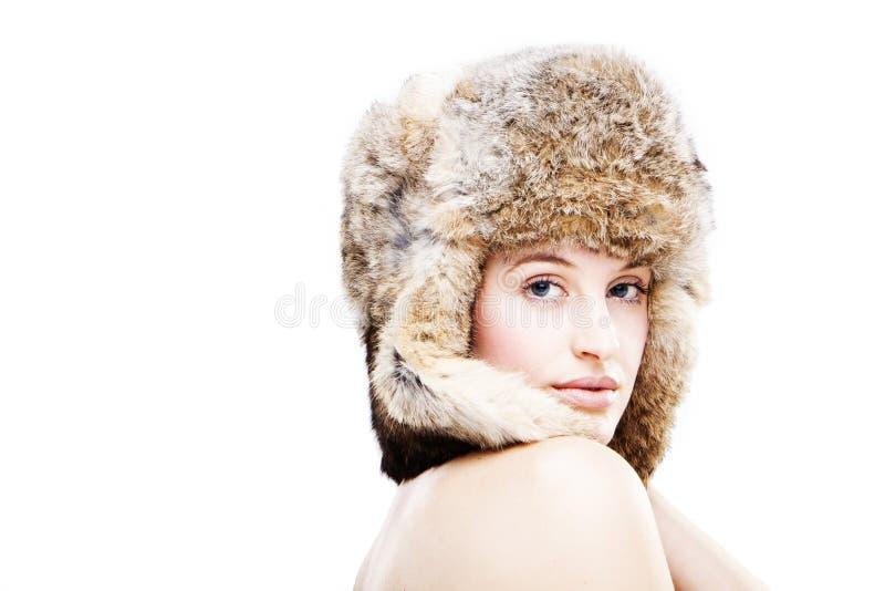 dziewczyna piękny futerkowy kapelusz fotografia stock