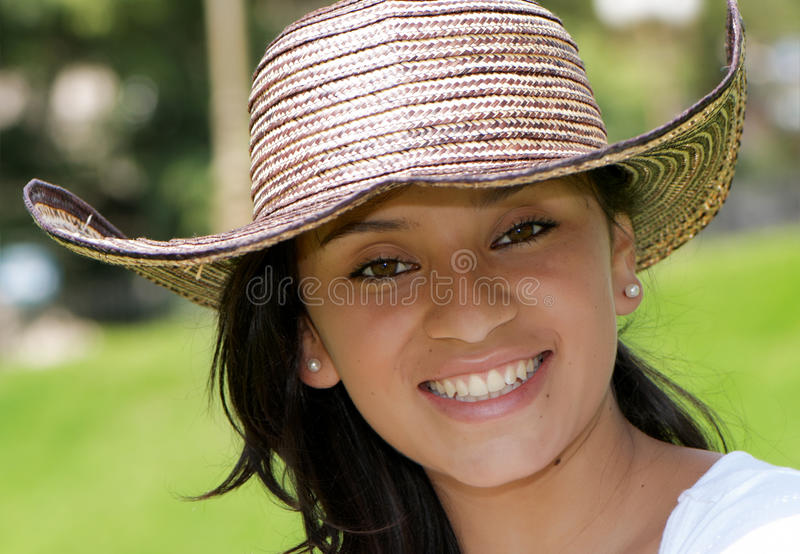 dziewczyna piękny kolumbijski kapelusz zdjęcie royalty free