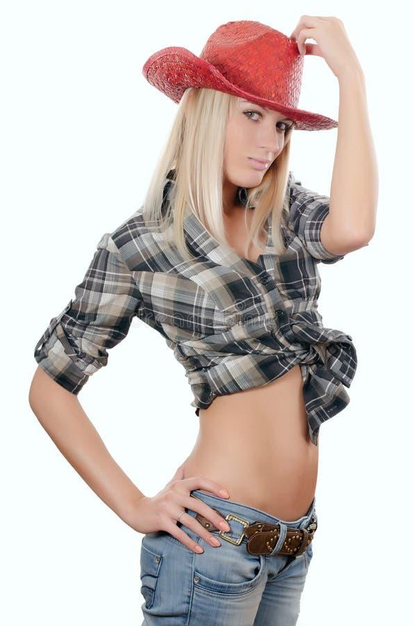 dziewczyna piękny kowbojski kapelusz s zdjęcie stock