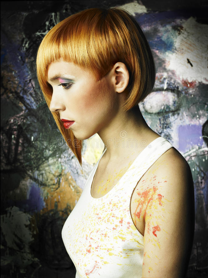 dziewczyna piękny malarz obrazy royalty free
